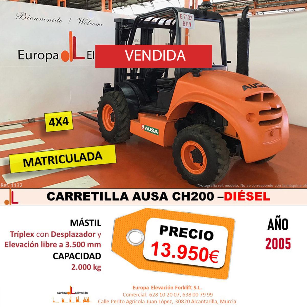 1132 AUSA CH200CARRETILLA 4X4 EUROPA ELEVACIÓN- vendida