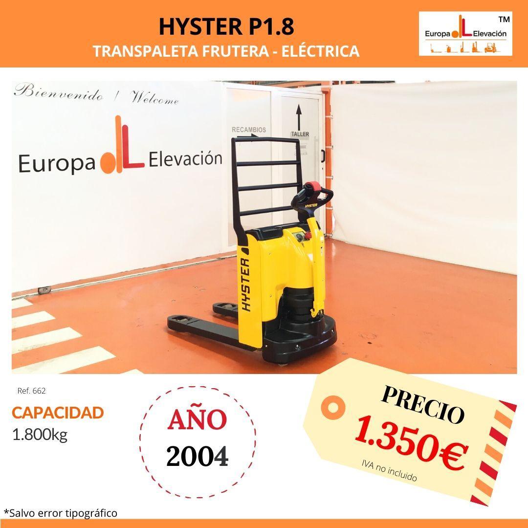 662 Hyster transpaleta eléctrica Europa Elevación