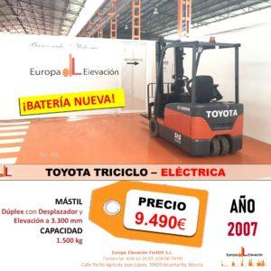 TOYOTA TRICICLO ELÉCTRICA EUROPA ELEVACIÓN BATERÍA NUEVA