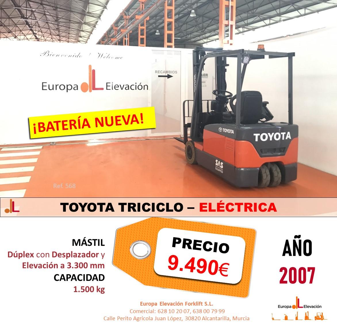 568 TOYOTA TRICICLO ELÉCTRICA EUROPA ELEVACIÓN BATERÍA NUEVA
