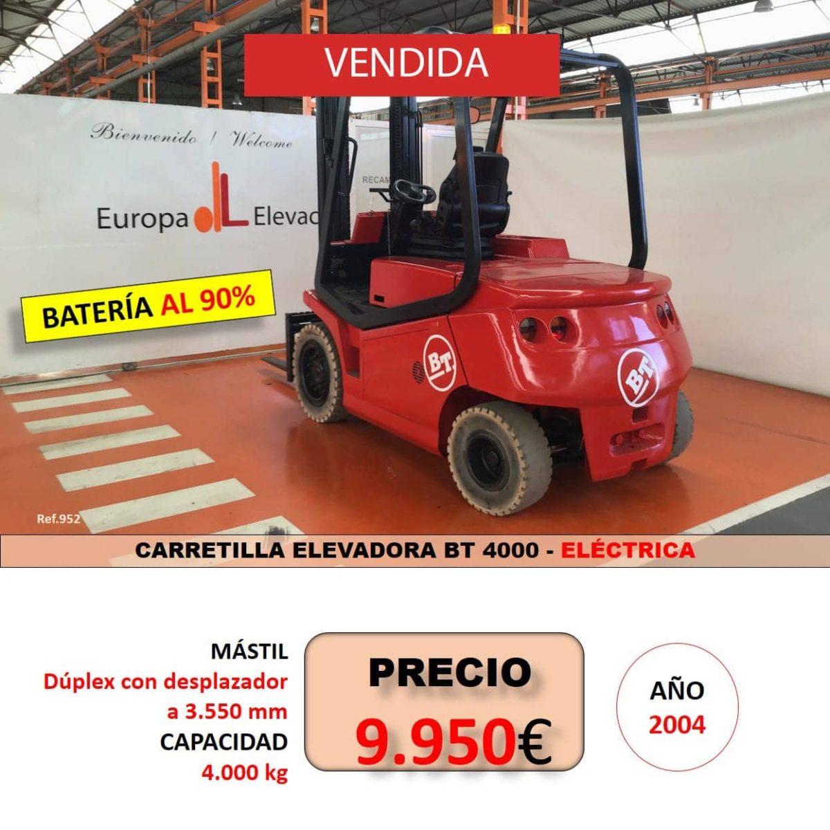 BT CARRETILLA ELEVADORA EUROPA ELEVACION VENDIDA