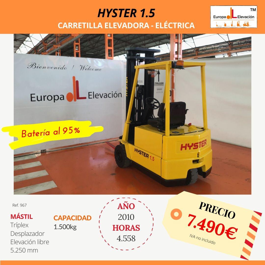 967 Hyster 1.5 Carretilla elevadora Eléctrica Europa Elevación