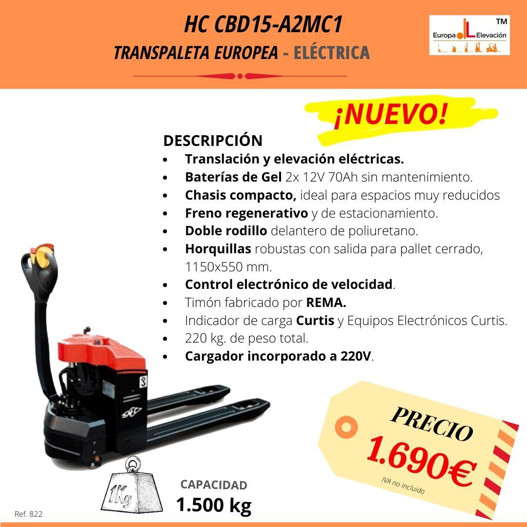 HC CBD15 - A2MC1 transpaleta europea eléctrica 1500 kg