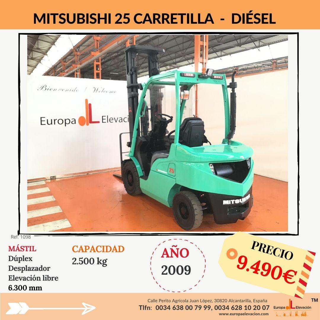 1098 Mitsubishi 25 Carretilla Diésel Europa Elevación