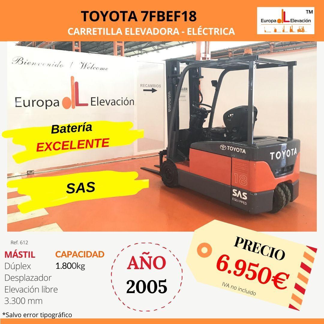 Toyota Triciclo 1.800 kg Eléctrica - Carretilla Elevadora, Triciclo de la marca Toyota, ofrece una capacidad de hasta 1.800 kg de carga y dispone de tracción eléctrica.