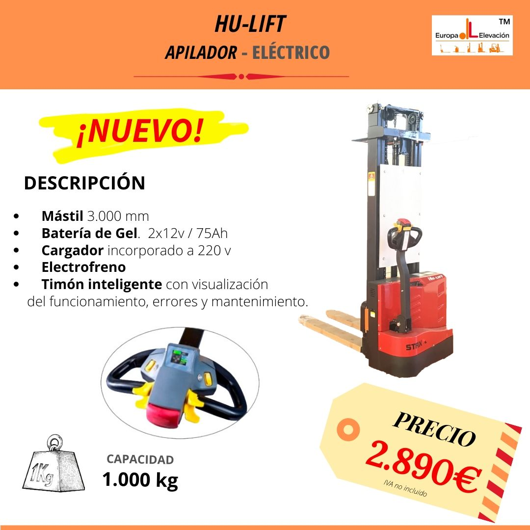 Hu - Lift apilador eléctrico 3.000 mm